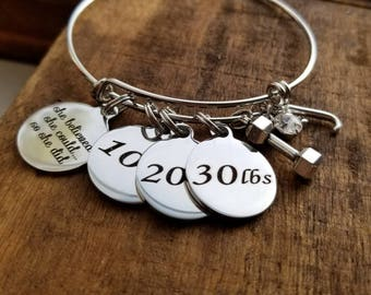 Weight loss jewelry, personalized weight loss journey bracelet, she believed she could so she did bracelet, weight watchers, crossfit, 21df
