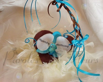 Ring bearer turquoise chocolate Orchid artificial customize
