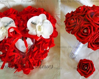 Bouquet set, wedding ring and boutonniere (available) red roses and diamond to customize