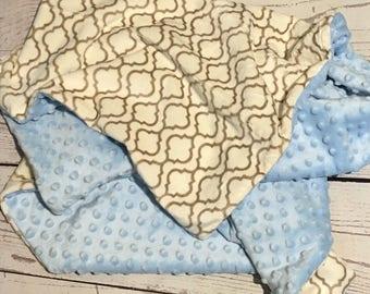 Personalized Baby Blanket,Minky Baby Blanket,Blue Minky Dot,Baby Gift,Baby Bedding,Monogrammed,Crib Bedding,Nursery Blanket,Geometric Print
