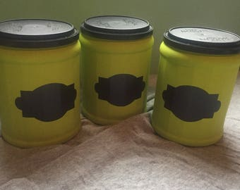 Upcycled Lime Green Coffee Containers