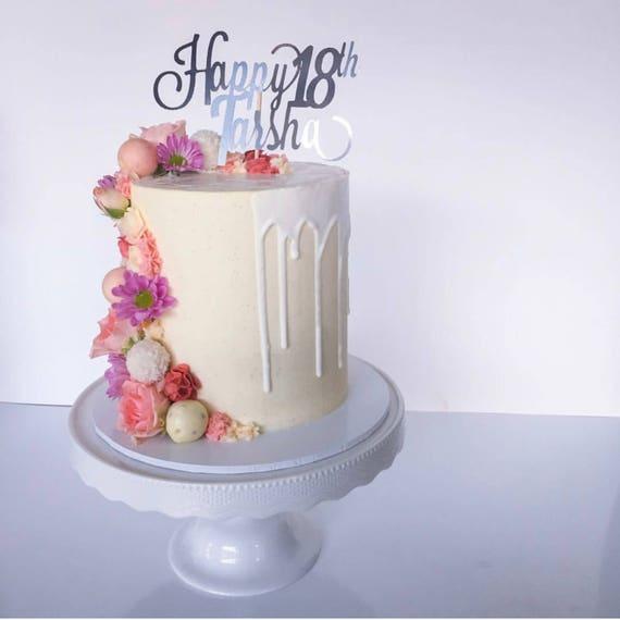 Milestone Birthday   Age + Name Gold or Silver Glitter Cake Topper   Custom Cake Topper   Happy Birthday Topper