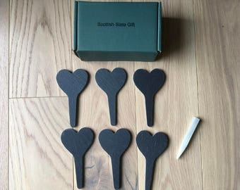 Slate Heart Plant Markers Long with Point set of 6