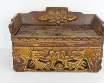 Antique Wood Box/Camphor Hidden Drawer