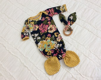 Navy Floral Mermaid Baby Gown  0-3 month
