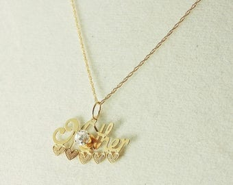 """33% Off Christmas in July 14k Yellow Gold And .25ct Rhinestone """"MOTHER"""" Pendant Necklace 18"""""""