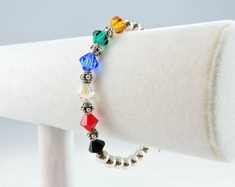 """50% OFF CLEARANCE Sterling Silver And Glass Bead Toggle Bracelet 8"""" Larger Wrist"""