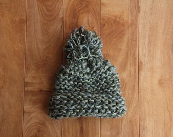 Green and Blue Chunky Knit Baby Hat