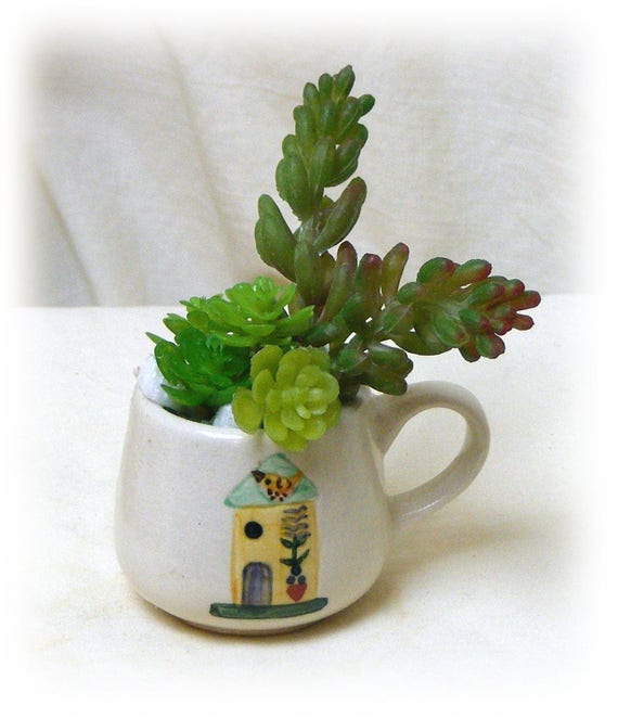 "Extra Small Teacup turned ""Tiny Treasures"" with adorable faux succulents"