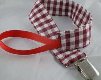 Tetine017 - Pacifier clip red Plaid