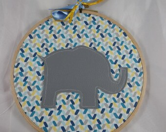 Tableau015 - Wall decor blue, yellow and elephant