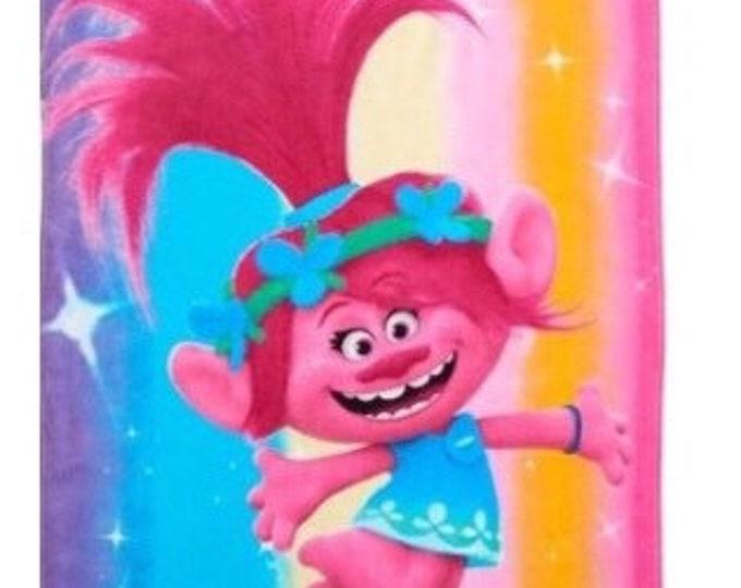 TROLLS Poppy Pink Happy Vibes Beach Towel - Personalized Beach Towel
