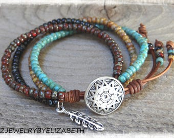 Beaded Wrap Bracelet/ Southwestern Seed Bead Bracelet/ Seed Bead Leather Bracelet/ Leather Wrap Bracelet/ Boho Wrap Bracelet/ Beaded Leather