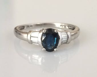 Vintage Solid Platinum Sapphire and Diamond Baguette Ring