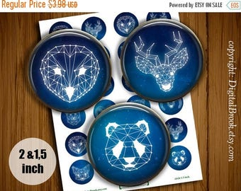 SALE 50% Polygonal Animals  Digital Collage Sheet 2 inch 1.5 inch Printable circle images for Pocket Mirrors Labels Pendant - 104