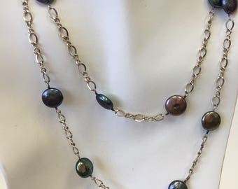 Freshwater Black  Coin Pearl and Sterling Silver Tin Cup Necklace OOAK