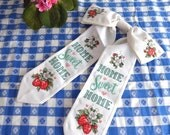 Cross Stitch Door Bow Wreath Bow Strawberries 1980s Hand Made Cross Stitch Craft Supply Finished Home Sweet Home
