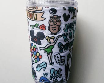 Disney sketch icons extra large drink cozy, characters, castle, mouse ears cup sleeve, insulated fabric, hot cold beverage holder