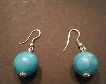 SALE Blue Earrings Turquoise Beads Costume Jewelry
