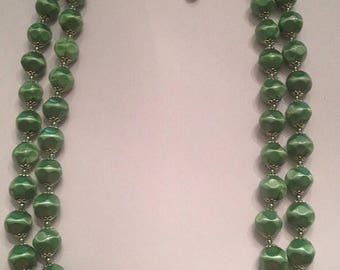 SALE Vintage Green Bead Waterfall Necklace 1950s 1960s  Costume Jewelry
