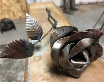 Rusty metal rose handmade