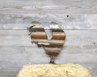 Crowing Rooster - Corrugated Barn Tinwret w5 4x4 raw