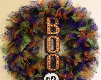 halloween wreath boo wreath ghost wreath holiday wreath tulle halloween wreath