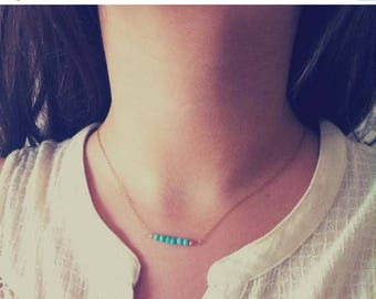Vacation-Sale- Turquoise Bar Necklace, Beaded Necklaces, Gemstone Bar, Dainty Jewelry, Dainty Turquoise, Dainty necklace,Dainty Gift Necklac