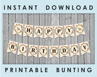 Boho Woodland Theme Party Bunting / HAPPY BIRTHDAY Banner / Garden Tribal Nature Floral Diy Decor / Printable PDF / Instant Download
