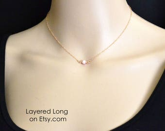 Rose Gold Pearl Necklace -Single Pearl Necklace - Pink Pearl -Rose Gold Filled - Solitaire Necklace - Pearl Necklace - Freshwater Pearl