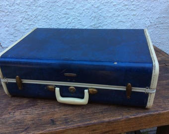 vintage blue marble samsonite suitcase
