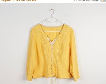 ON SALE Vintage Dirndl Women Shirt Old Country Farm Shirt Cottage Chic Shirt Long Sleeve Hippie Old Farm Vneck Shirt
