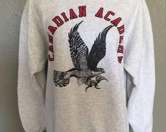 Old School Canadian Academy Falcons Sweatshirt Large Pullover Japan School Gray USA Made