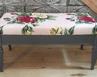 Vintage bench / barkcloth
