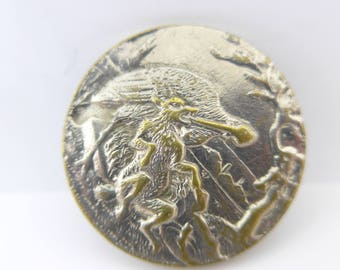 Antique Vintage Picture Fox Stork Aesop Fable Button Paris Back A P & Cie Brevette Metal Button