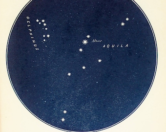 1900s Antique Astronomy Print , Blue-Black Star Chart of Constellations, Aquila the Eagle, Altar, Delphinus (8)