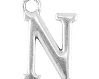 DQ Letter Pendant-1 piece-15 mm-Zamak, silver plated-letter selectable (letter: N)