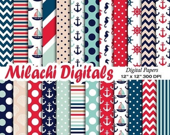 60% OFF SALE Nautical digital paper, Ahoy scrapbook papers, chevron background, wallpaper, commercial use - M548