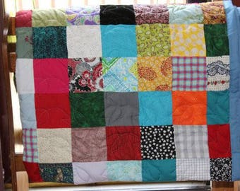 XL Twin Size Scrappy Patchwork Quilt - Custom Made to Order - XL (Extra Long) Twin Size Quilt