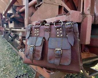 vintage leather bag, tote bag, vintage bag, leather handbag, rustic bag, authentic bag, steampunk bag, 70-th style bag, 1960s leather bag,