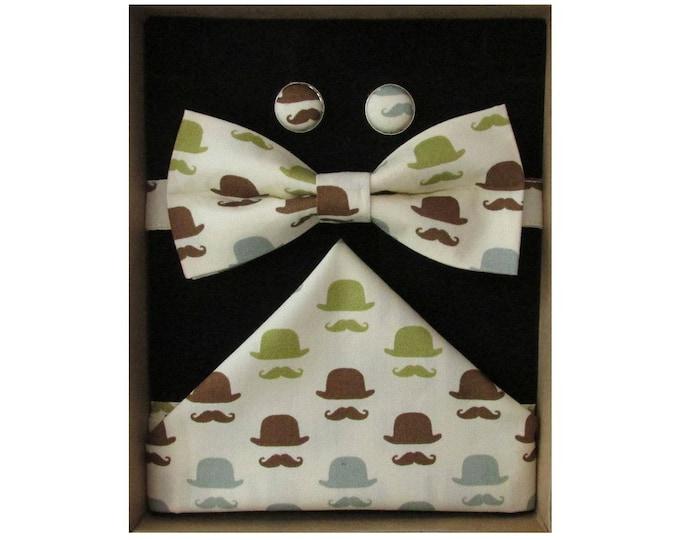 Moustache & Bowler Hat Bow Tie Boxed Gift Set