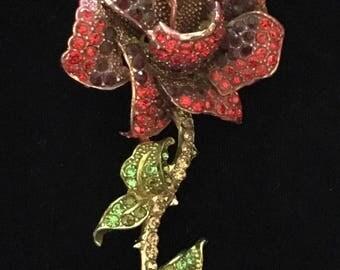 Large Rhinestone Rose Brooch / Pin
