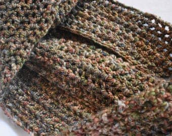Tweed Infinity Scarf -- Crochet Scarf Featuring Browns, Greens, Oranges, & Red