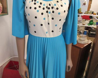 Vintage Blue and Brown Polka Dot Polyester Alfred Shaheen Pleated Dress Size 10