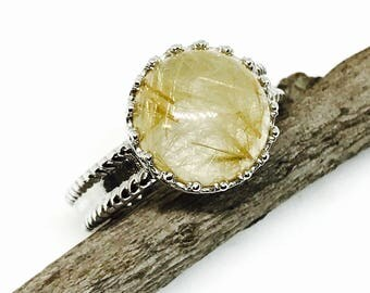 Rutilated Quartz Ring set in Sterling silver 925. Size -61/2Natural authentic stone.