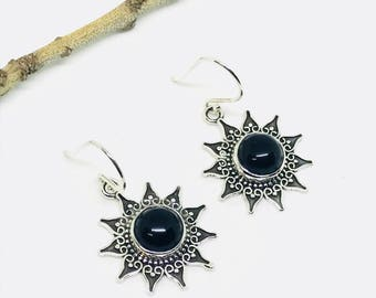 Black obsidian earrings set in sterling silver 925. Natural authentic perfectly matched stones.