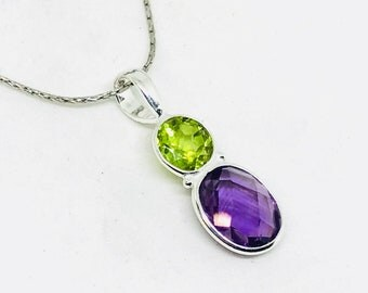Amethyst, peridot Pendant/ necklaces set in Sterling silver 925. Natural authentic faceted amethyst and peridot stone. Length - 1.25.