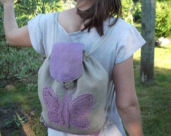 Small organic washed gray linen bacpack decorated with crocheted  butterfly eco gift for her birthday gift for girl