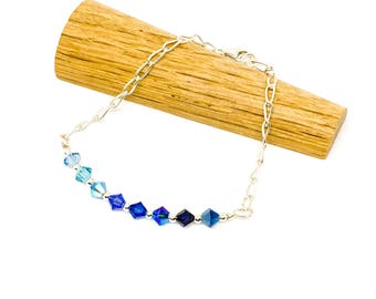 Blue ombre bracelet - Swarovski and sterling silver bracelet - dainty silver beaded bracelet - 4mm beads - chain link bracelet