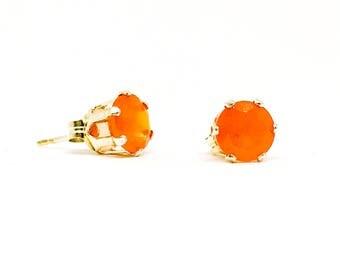 Carnelian stud earrings - sterling silver studs - 6mm gemstone - Carnelian gemstone earrings